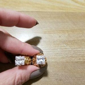 Earrings faux diamond w/ gold ball backing